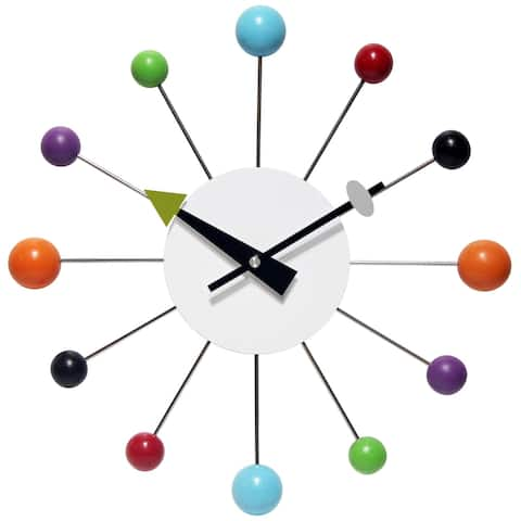 Orb Spoke 15 inch Mid-Century Modern Ball Wall Clock, Multicolor