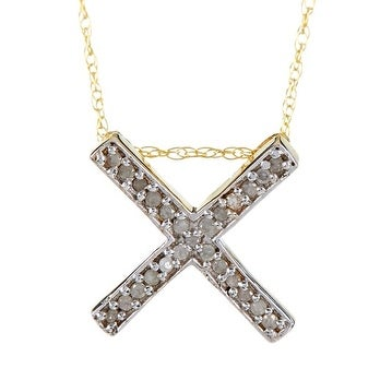 14k Gold White Diamond Cross Pendant with Chain