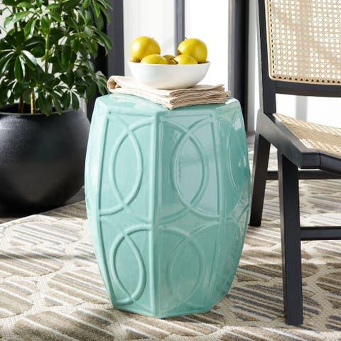 SAFAVIEH Kameko Indoor/ Outdoor Blue Ceramic Decorative Garden Stool