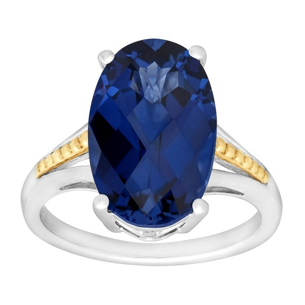 9 1/2 ct Created Ceylon Sapphire Cocktail Ring in Sterling Silver & 14K Gold - Blue