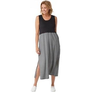 Cuddl Duds Womens Plus Flexwear Maxi Dress 2X Black/Geo A346882