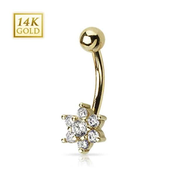 "14 Karat Solid Yellow Gold Clear CZ Flower Navel Belly Button Ring - 14GA 3/8"" Long"