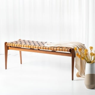 """Link to SAFAVIEH Couture Dilan Leather Bench - 47.8"""" W x 16.5"""" L x 18.1"""" H Similar Items in Living Room Furniture"""