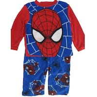 Marvel Boys Blue Red Spiderman Logo Print 2 Pc Pajama Set 8-10