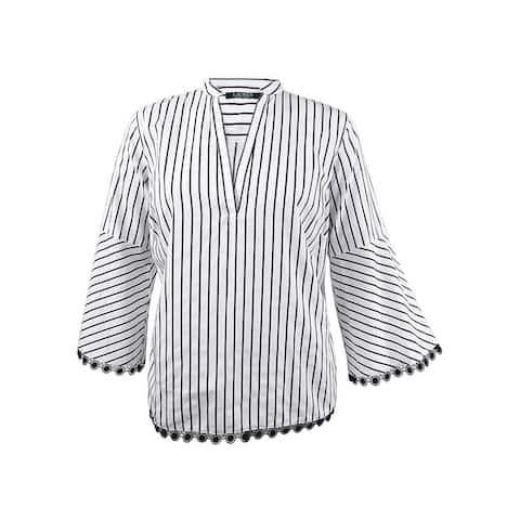 Lauren by Ralph Lauren Women's Plus Size Cotton Top - White