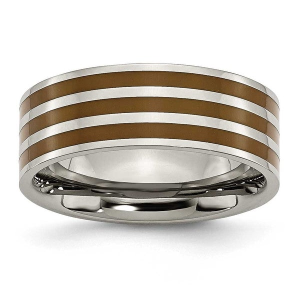 Chisel Brown Enamel Flat Polished Titanium Ring (8.0 mm)