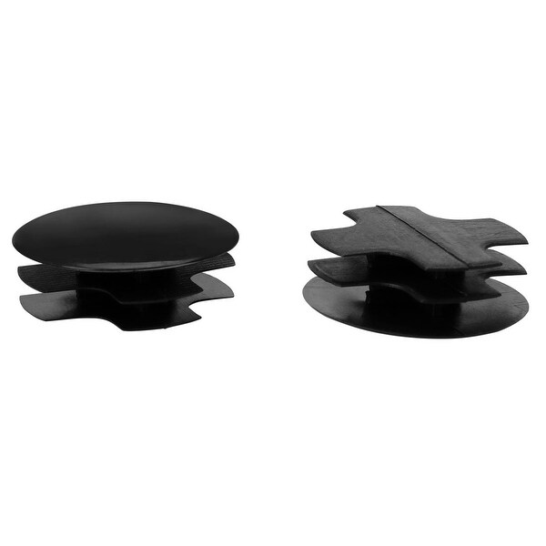 "2pcs 1 1/4"" 32mm OD Plastic Round Tube Inserts Ribbed Pipe Cover Caps Black Floor Protector, 1.14""-1.22"" Inner Dia"