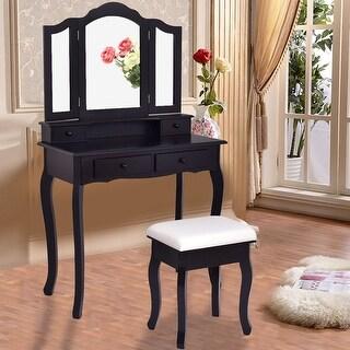 Costway Vanity Makeup Dressing Table Set bathroom W/Stool 4 Drawer&Mirror Jewelry Wood Desk Black