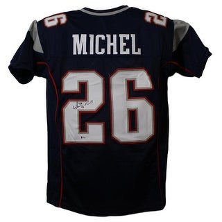 Sony Michel Autographed New England Patriots Blue XL Jersey BAS