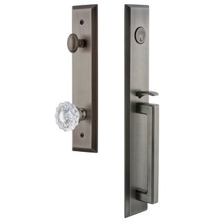 "Grandeur FAVDGRVER_ESET_238  Fifth Avenue Solid Brass Rose Keyed Entry Single Cylinder Full Plate ""D"" Grip Handleset with"