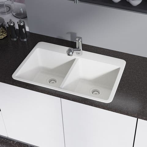 R3-2002 Topmount Granite Quartz Kitchen Sink with Two Grids and Matching Colored Strainer and Flange