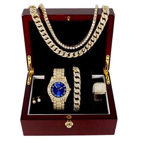Royal Blue Color Dial with Roman Numerals, Cuban Chain Bracelet, Cuban Necklace, Tennis Chain & Ring - ST10327CRNT