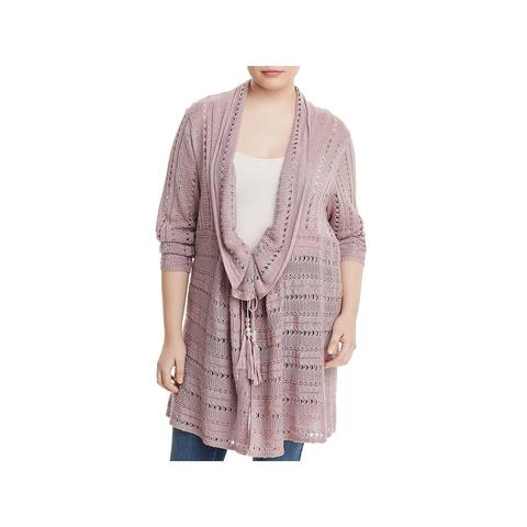Love Scarlett Womens Plus Cardigan Sweater Open Knit Long - 2X