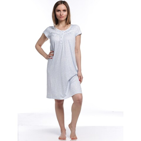 Body Touch Women's Classic Short Sleeve Nightgown - White/Blue