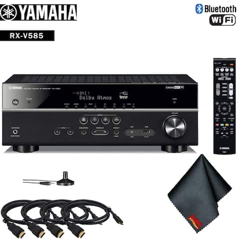 Yamaha RX-V585 7.2-Channel MusicCast A/V Receiver Accessory Kit - Includes - 4 x HDMI Cable + More!