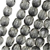 Czech Fire Polished Glass Two Toned Beads 4mm Round Gray Crystal (50)