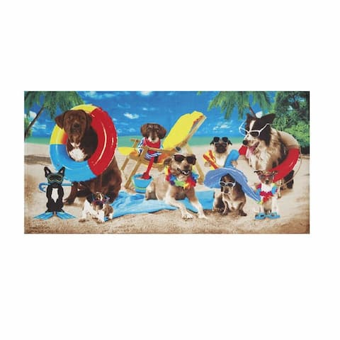 Dogs at the Beach 30x60 Brazilian Velour Beach Towel