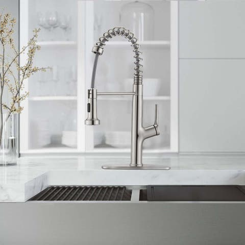 Stainless Steel Coil Spring Pull-out Sprayer Spout Kitchen Faucet - 6.3*8.66*19.6