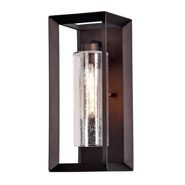 Dark Bronze Finish Outdoor Wall Light with Clear Seeded Glass - Dark Bronze. Opens flyout.