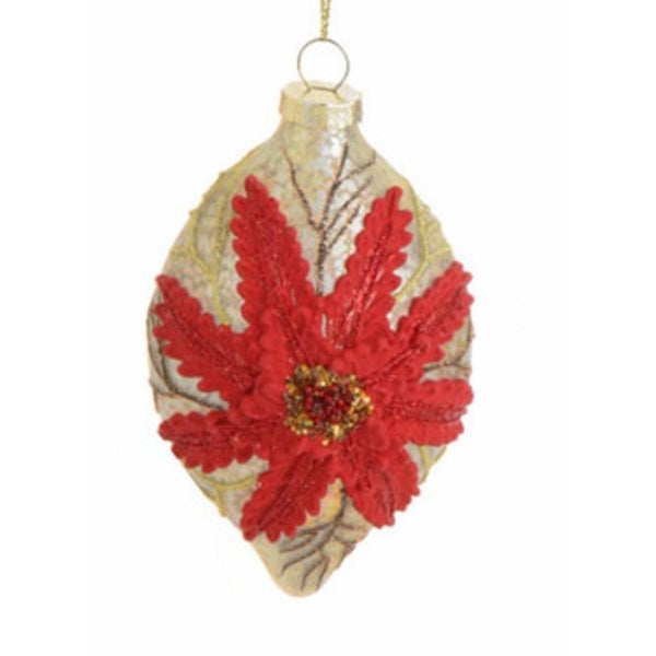 """4.5"""" Speckled Antique Chic Poinsettia Glass Drop Christmas Ornament - GOLD"""