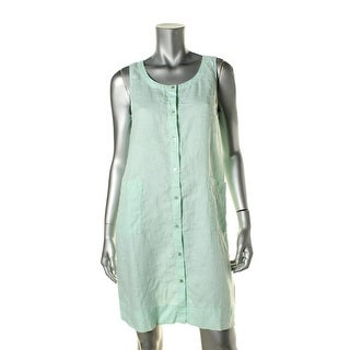 Eileen Fisher Womens Petites Linen Sleeveless Shirtdress