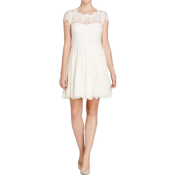 Aqua Womens Cocktail Dress Lace Pleated