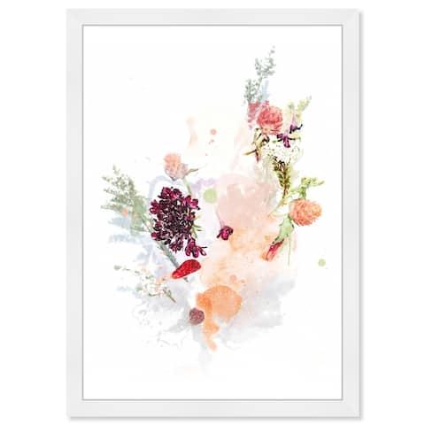 Wynwood Studio Prints 'Floral Pastel Splatter' Orange Wall Art