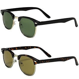 Classic Clubmaster Style Sunglasses - Set of 2 Pairs - Black & Tortoise