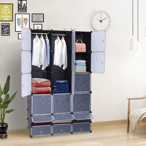 18-Cube Modular Cubby Shelving Storage Organizer Extra Large Wardrobe with Clothes Rod