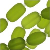 Cultured Sea Glass, Semi Freeform Nugget Beads 16-20x12mm, 1 Strand, Olive Green