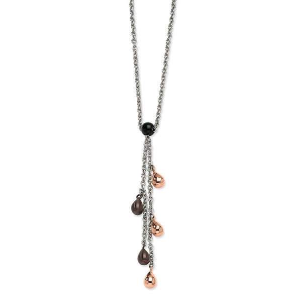 Chisel Stainless Steel Rose Gold & Brown Teardrops 20 Inch Y Necklace (2 mm) - 20 in