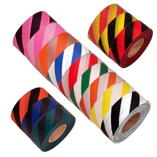 """Tape Planet Safety Striped Flagging Tape 1-3/16"""" Non-Adhesive Plastic Ribbon (Roll)"""