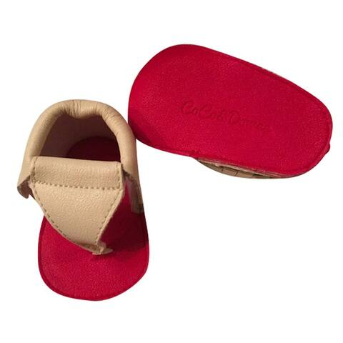 Baby Girls Cream Red Soft Sole Thong Strap Faux Leather Sandals 3-18M - 3-6 Months