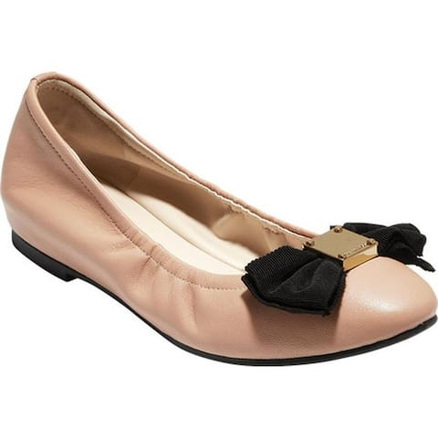 bdd27657d55 Cole Haan Women's Tali Soft Bow Ballet Flat Chestnut Nude Smooth Leather