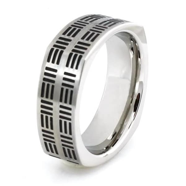 Squared Stainless Steel Ring w/ Three-Line Pattern