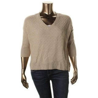 NY Collection Womens Ribbed Trim Dolman Sleeves Crop Sweater