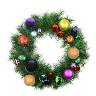 """24"""" Pre-Decorated Multi-Color Ball Ornament Long Needle Pine Artificial Christmas Wreath - Unlit"""