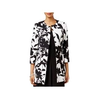 Kasper Womens Collarless Blazer Crepe Floral Print