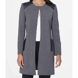 Tahari By ASL NEW Gray Womens Size 10 Studded Faux-Leather Trim Coat