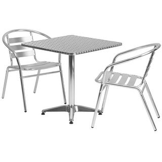 """Offex 27.5"""" Square Aluminum Indoor-Outdoor Table With 2 Slat BAck Chairs"""