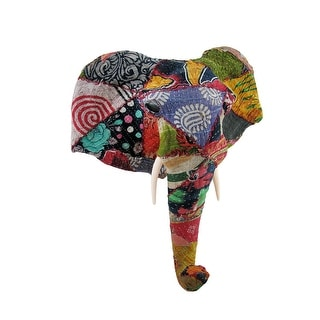 Recycled 20 Inch Fabric Covered Elephant Head Wall Mount Bust