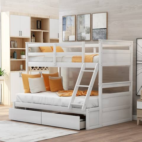 Twin over Full Bunk Bed with Storage - White