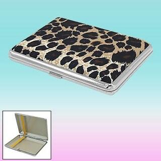 Portable Leopard Skin Printed Cigarette Case Box w Metal Frame