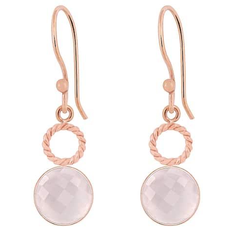 Rose Quartz Brass Round Dangle Earrings by Fashionablez