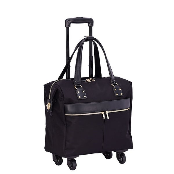 """Mellow World 15"""" Rolling Carry-On Suitcase with 4-wheel spinner. Opens flyout."""