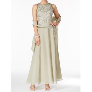 Jkara Sage Womens Embellished 2pc Scarf Gown Dress