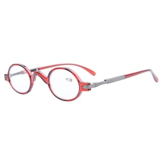 Eyekepper Readers Spring Temple Vintage Mini Small Oval Round Reading Glasses Red +4.0 - +4.00