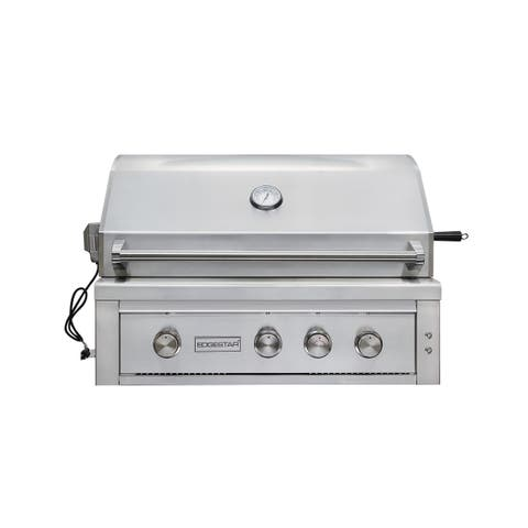 "EdgeStar GRL360IBBNG 89000 BTU 36"" Wide Natural Gas Built-In Grill with Rotisserie and LED Lighting -"