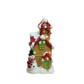 """17"""" Christmas Morning Pre-Lit LED Snow Covered Cottage with Snowman Decorative Christmas Tabletop Figure"""