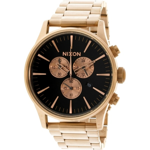 357e8bf2449 Shop Nixon Men s Sentry Chrono Rose-Gold Stainless-Steel Fashion Watch -  Free Shipping Today - Overstock.com - 19447967